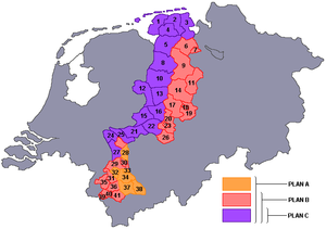 Dutch annexation of German territory after World War II - The Bakker-Schut Plan. To the left is the Netherlands, to the right is the part of Germany known as Lower Saxony and North Rhine-Westphalia. The coloured areas in the middle are the parts proposed for annexation by the Netherlands.