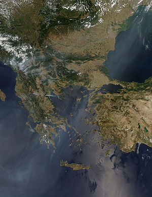 Why do we call it Greece while it's Albanian land? 300px-Balkan_Fires,_Earth_from_Aqua_(EOS_PM-1)_(2007-07-25)