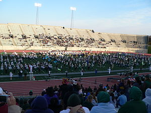 """2010 Eastern Michigan Eagles football team - The special """"Band Day"""" halftime show featured the EMU Marching Band along with 12 high school bands."""