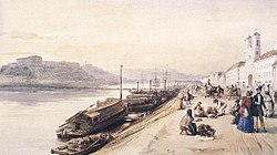Barabas, Miklos - Quay of the Danube with Greek Church in 1843.jpg
