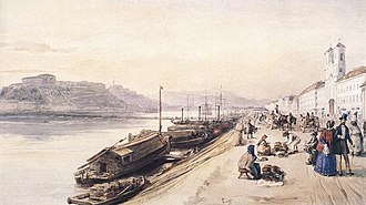 Internationalization of the Danube River - A quay on the Danube in Buda, Hungary, 1843