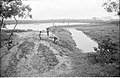 Barrier Between Waterbody And Drain Carrying Leather Industries Waste Under Construction - Science City Site - Dhapa - Calcutta 1993-06-25 0616.JPG