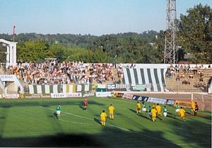 Barry Town United F.C. - Barry (in yellow) in action in Lithuania in the summer of 1994