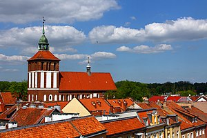 Bartoszyce - Town panorama with the main church