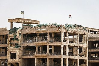 Battle of Fallujah (2016) - Iraqi flag over the building