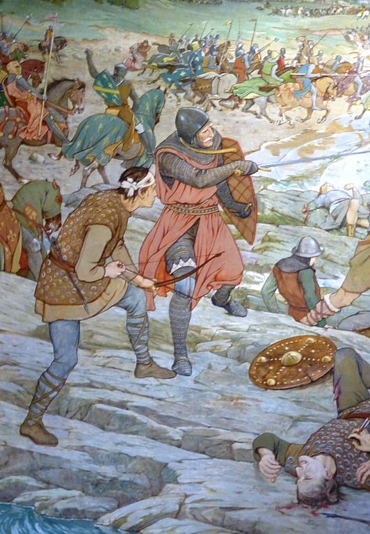 a painting of medieval warriors fighting on a beach with swords, shields and bows