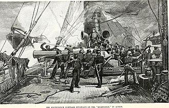 USS Kearsarge (1861) - Firing the forward 11 inch gun on the Kearsarge