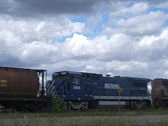 BC Rail - CN train with BC Rail locomotive at East Edmonton Junction