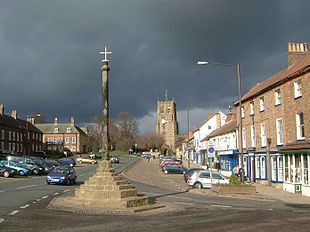 The centre of Bedale with St Gregory's church in the background