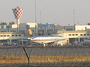 Begumpet Airport - A Jet Airways civilian aircraft parked at the airport, when operational
