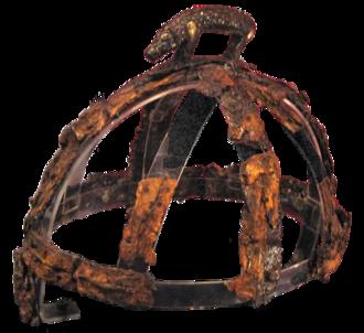 Benty Grange helmet - The Benty Grange helmet, on a modern transparent support