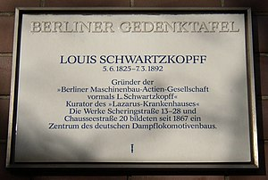 Louis Victor Robert Schwartzkopff - Memorial tablet in Berlin-Gesundbrunnen (Scheringstrasse)