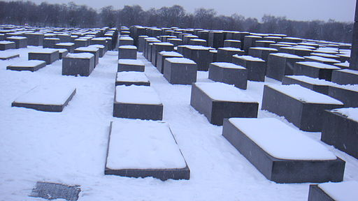 Berlin Holocaust Memorial in snow