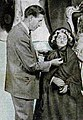 Bernard Tussaud tidies up figure of his great-great grandmother Madame Tussaud.jpg