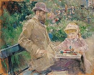 Eugène Manet et sa fille dans le jardin de Bougival