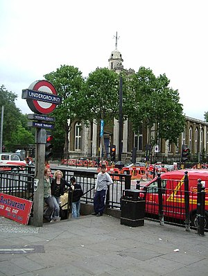 Bethnal Green tube station - View from southwestern entrance towards St. John's