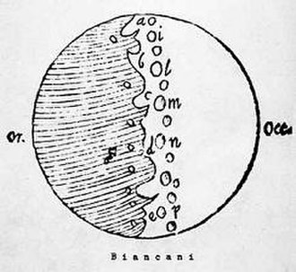 Giuseppe Biancani - Biancani's map of the moon shows only stylized 15 craters, none of which are clearly recognizable or identifiable as actual craters.