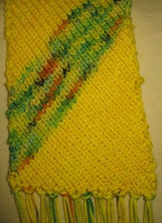 Bias knitting - Bias knitting in a scarf.