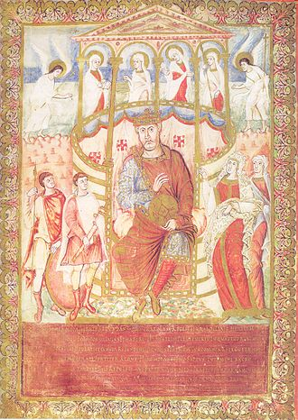 Bible of San Paolo fuori le Mura - Dedication page of the Bible, depicting Charles the Bald