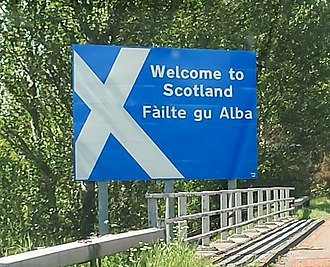 A74(M) and M74 motorways - Sign on the northbound A74(M) on the Scottish border near its southern end