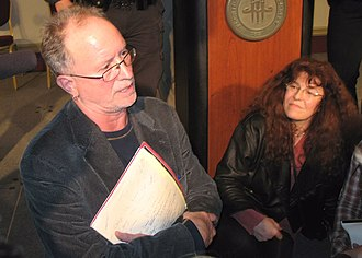 Bill Ayers - Bill Ayers and wife Bernardine Dohrn speaking to audience members following a forum on education reform at Florida State University in 2009.