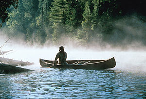Bill Mason - Image: Bill Mason in canoe 01