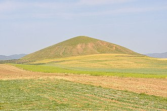 "Tumulus - Tomb of King Alyattes at Bin Tepe in Lydia, modern Turkey, built circa 560 BCE. It is ""one of the largest tumuli ever built"", with a diameter of 360 meters and a height of 61 meters."