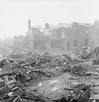 Birmingham Blitz - A severely bomb damaged street in Aston Newtown.