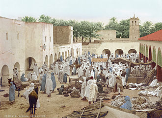 North Africa - Market of Biskra in Algeria, 1899