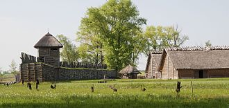 Biskupin - View of wall of reconstructed gród at Biskupin