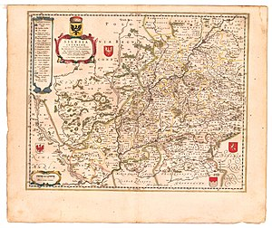 Maria Cunitz - Map from 1645 showing places of Cunitz' life in Silesia like Wolaw, Lignitz and Schweidnitz. In those times both German and Slavic names were in use.