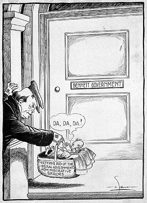 Great Depression in Canada - Blaming it on Bennett: A 1931 political cartoon suggests that Liberals had failed to take responsibility for their own errors.