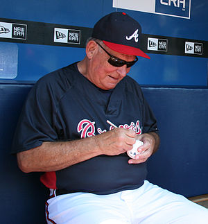 Braves manager Bobby Cox retired in 2010 after 25 years of management Bobby Cox signs autograph CROPPED.jpg