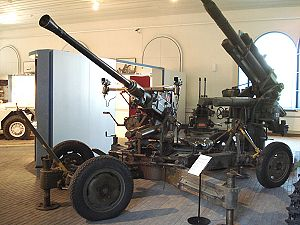 Bofors 40 mm gun - Finnish Bofors 40 mm. This gun mounts the original reflector sights, and lacks the armor found on British examples.