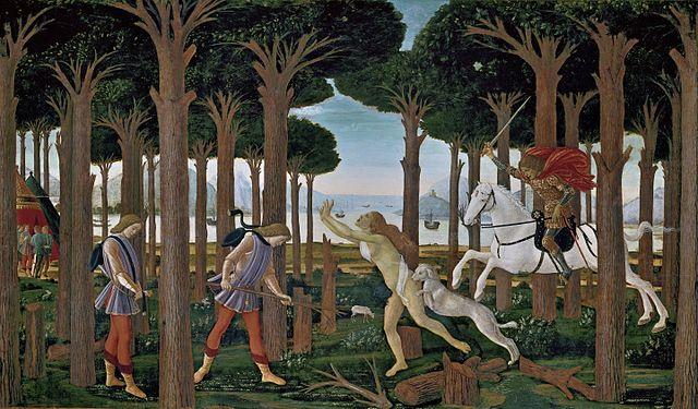 С. Боттичелли. Иллюстрация к новелле о Настаджо дельи Онести. 1487. Мадрид, музей Прадо
