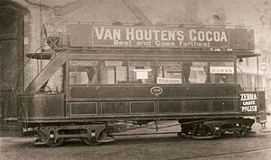 Bournbrook - BCTC's Car No. 104 outside the tram shed in Dawlish Road, Bournbrook, in 1891. This vehicle still survives at the Black Country Living Museum.