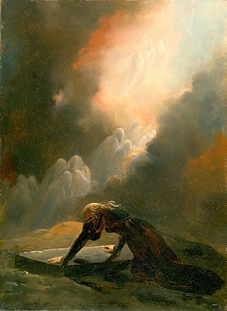 Merlin - Bradamante at Merlin's Tomb by Alexandre-Evariste Fragonard (1820)