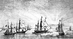 Engraving depicting several sailing warships, one of which appears to be firing its guns, with numerous other sailing vessels in the background.