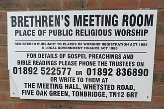Exclusive Brethren - This notice indicates that the meeting room is a registered place of worship and gives contact details. (Five Oak Green Meeting Room, Kent).