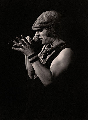 Brian Johnson - Johnson performing with AC/DC at the Manchester Apollo, England in 1982