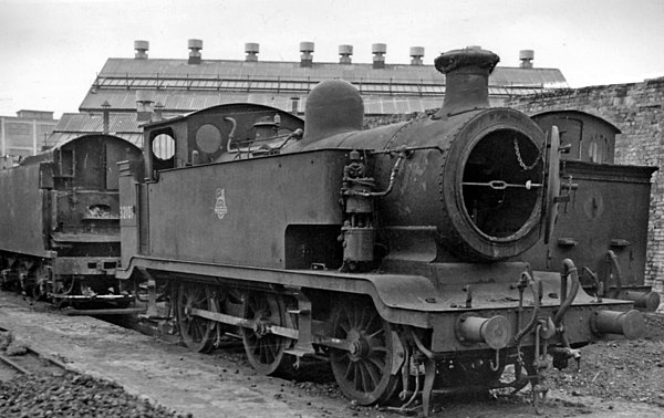 The LB&SCR E2 class was the prototype on which Thomas was based Bricklayer's Arms Depot abandoned ex-LB&SC 0-6-0T geograph-2687638-by-Ben-Brooksbank.jpg