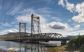 New Norfolk, Tasmania - The Bridgewater Bridge was opened regularly by the Australian Newsprint Mills to transport paper via water to Hobart until 1984 when river transportation ceased.