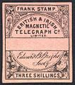 British & Irish Magnetic Telegraph Co. Limited 3 shilling stamp c. 1862 remaindered without control number.jpg