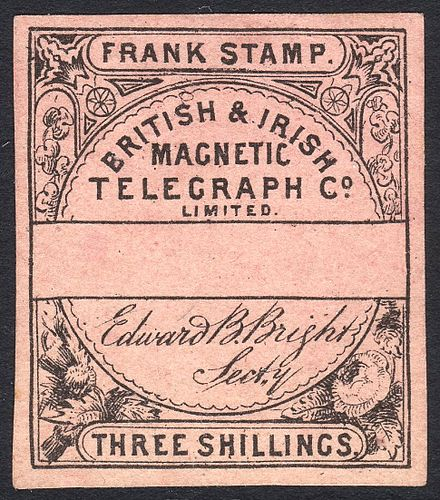 A telegraph stamp of the British & Irish Magnetic Telegraph Co. Limited (c. 1862). British & Irish Magnetic Telegraph Co. Limited 3 shilling stamp c. 1862 remaindered without control number.jpg