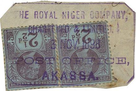 British stamps used in 1898 at Akassa by the Royal Niger Company British stamps used at Akassa.jpg