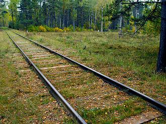 Bronna Góra - Old train tracks leading to location of forest massacres at Bronna Góra