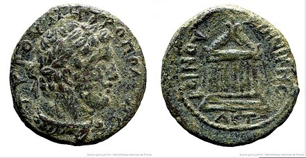 Bronze coin minted in Tyre depicting the head of Septimius Severus (left) BronzeCoinTyreRomanEmperorSeptimiusSeverus GallicaBNF.jpg