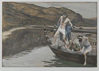 Saint Pierre averti par Saint Jean que le Seigneur est là se jette à l'eau