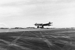 A Heinkel He 177 takes off for a sortie, 1944