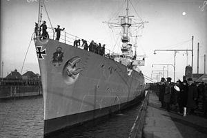 German cruiser Emden - Emden in port, in 1928